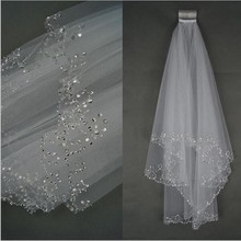 2019 Elegant Short Wedding Veil with Comb Two Layers Tulle Crystal Edge Bridal White Ivory Accessories