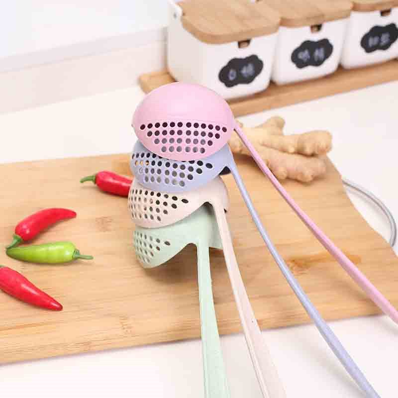 2 in 1 Long Handle Soup Spoon Home Strainer Cooking Colander Kitchen Scoop Plastic Ladle Tableware 4YANG in Rice Scoop from Home Garden