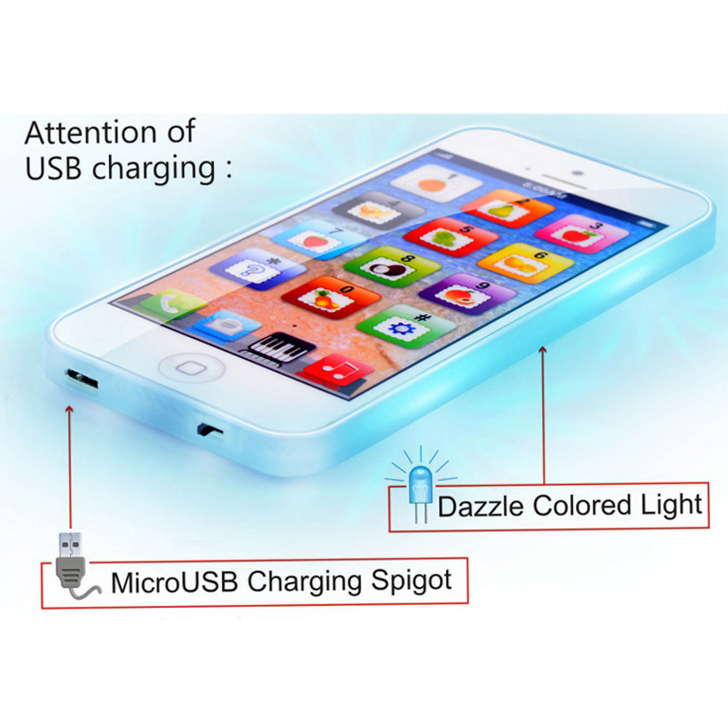 Touch Screen Mobile Phone Toy Multi-Functional Kid Toy-phone English Learning Mobile With Dazzle Colored Light Educational toys