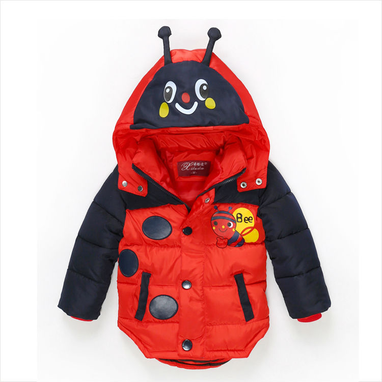 The explosion of 2016 new cartoon bee boy padded jacket warm children 3 6 years old
