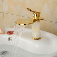 High end Bathroom Vessel Sink Mixer Faucet Deck Mount Hot Cold Water Basin Tap in Golden