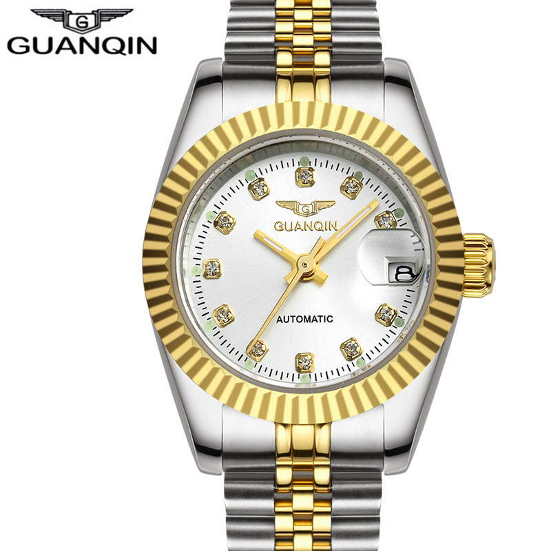 GUANQIN New Women's Fashion Business Watches Automatic Self-Wind Date Women Dress Gold Steel Clock Luxury Top Brand Ladies Watch стоимость