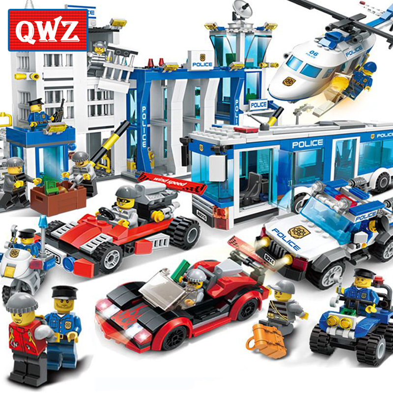 QWZ City Police Building Blocks Compatible Legoings City Helicopter Figures Bricks Assembled Toys Educational Children Gifts enlighten 112pcs city tractor assembled building blocks toys for children educational blocks bricks sets kids boys birthday gift
