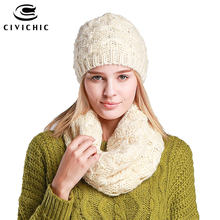 CIVICHIC Hot Fashion Thicken Hat Scarf Set Twist Knitting Pure Color Warm Head Wear Neck Warmer for Spring Autumn Winter SH102(China)
