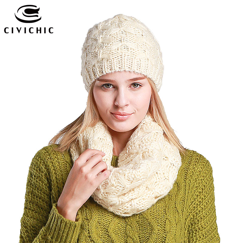 CIVICHIC Hot Fashion Thicken Hat Scarf Set Twist Knitting Pure Color Warm Head Wear Neck Warmer for Spring Autumn Winter SH102