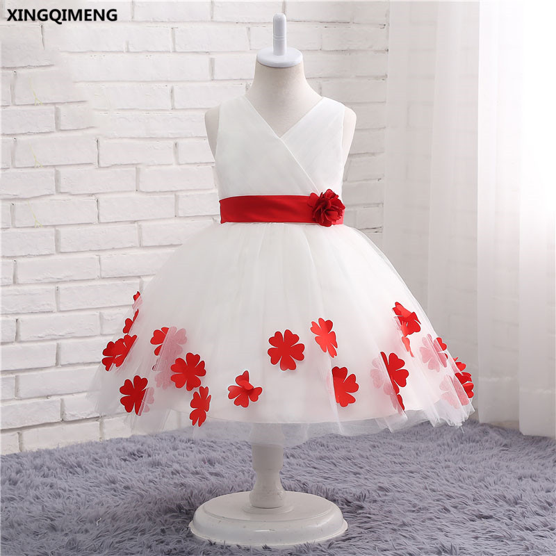 In stock white and red flower girl dresses 1 12y bow first holy in stock white and red flower girl dresses 1 12y bow first holy communion dress for girls tulle ball gown chic vestido daminha mightylinksfo