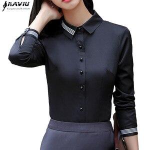 Image 1 - Moda kadın kıyafetleri pamuklu uzun kollutişört gömlek yeni sonbahar siyah ince bluz ofis bayanlar iş artı boyutu resmi üstleri