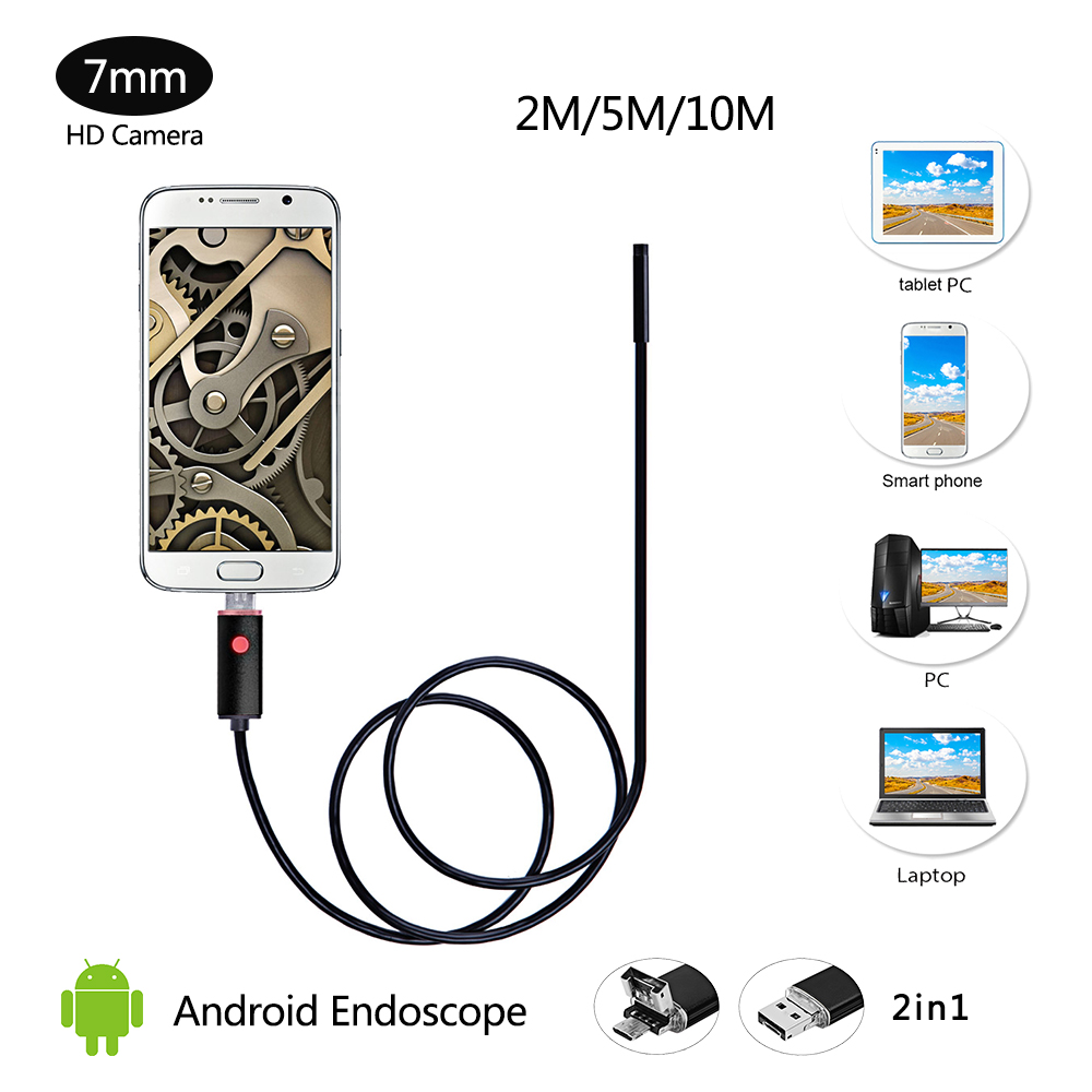 Waterproof IP67 HD USB Android Endoscope Camera Car Inspection 2m/5m/10m Borescope Android 7MM Mini Snake Camera PC USB Camera 8mm 1m 2m 3 5m wifi ios endoscope camera borescope ip67 waterproof inspection for iphone endoscope android pc hd ip camera