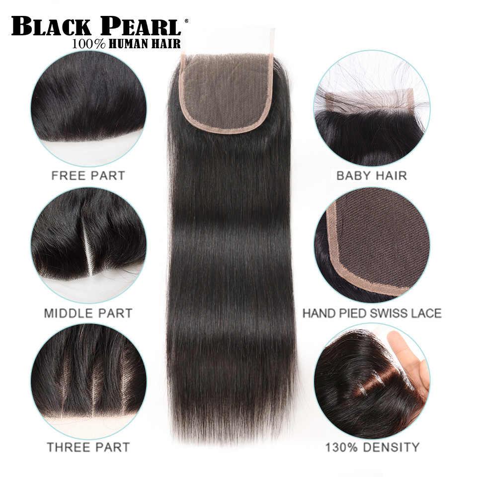 Black Pearl Pre-Colored 3 packs Bundles with Closure Straight Human Hair Bundles with Closure Brazilian Hair Weave Bundles