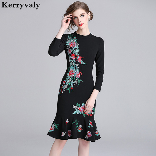 97e0eeadd4b0 New 2019 Spring Floral Retro Embroidered Dresses Vestidos Casuales Mujer  2019 Lotus Leaf Edge Bodycon Dress Robe Hiver K6343