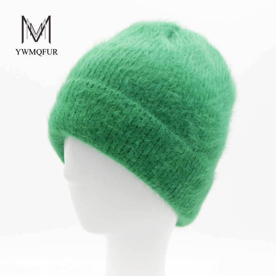 YWMQFUR Women Autumn Winter Rabbit Fur Hats For Ladies skullies beanies Thick Knitted Warm Casual Caps Outdoor Skullies Beanies adult beanie skullies rabbit fur ball shining warm knitted hat autumn winter hats for women