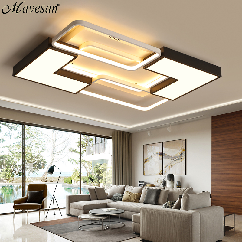 US $107.0 49% OFF|Modern LED Ceiling Light For Living room Bedroom Dining  room Light Fixtures Led Rectangle Ceiling Lamp Luminaires Home Lighting-in  ...