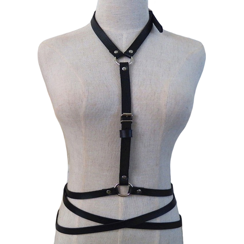 Buy fashion sexy goth women chest O ring studded strap garterbelt leather bondage belt cool lingerie bra black harness top cag