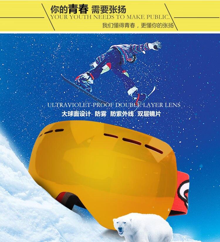 Lunettes de ski double couche UV400 anti-buée grand masque de ski lunettes ski hommes femmes neige snowboard lunettes