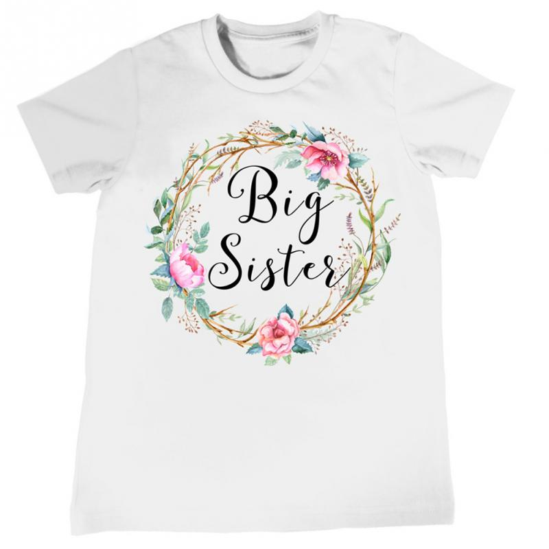 New Arrival Family Clothes Fashion Floral Printing Big Sister Short Sleeve T-shirt Litter Sister Romper Lovely Clothes  &