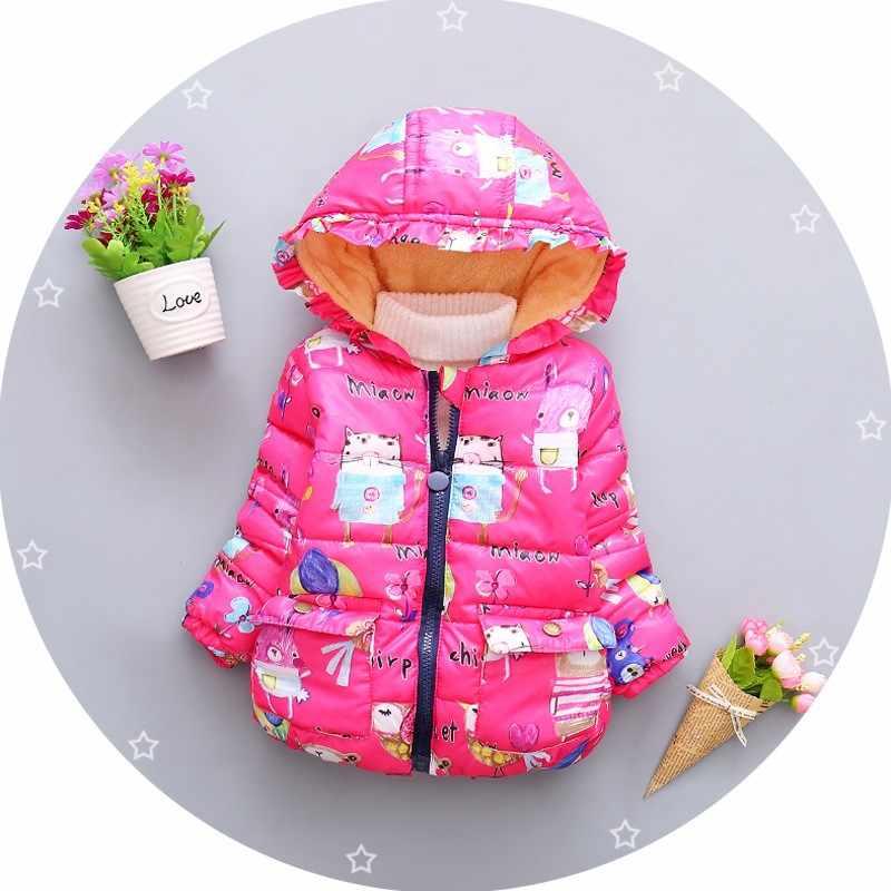 ba61ea88a61 BibiCola Toddler girls winter jacket coat children autumn outerwear baby  girl cartoon figure graffiti warm kids cotton down coat