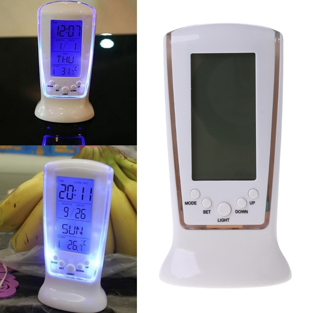 Digital LCD Alarm Clock Calendar Thermometer Backlight Home New Essential#T025#