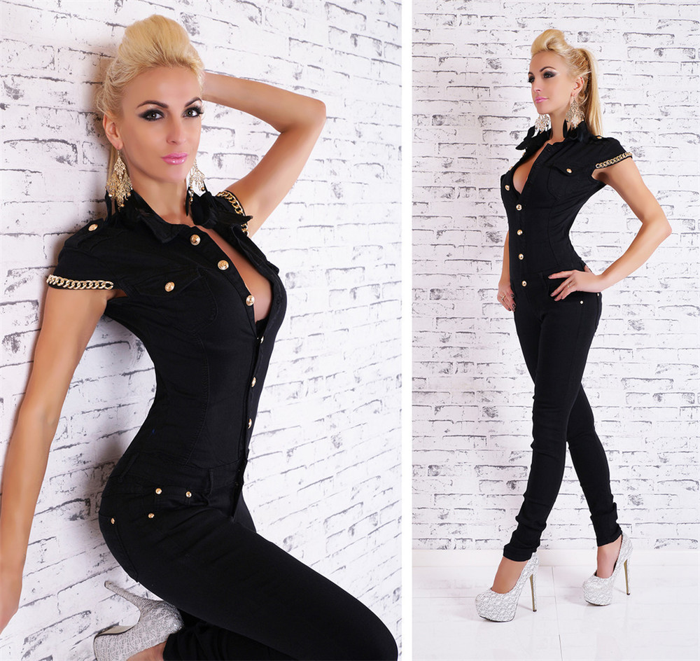 Sexy V Neck Black Women's Denim Jeans Jumpsuit Overall Skinny Legs Jeans Gold Chain Overalls For Women Bandage Jumpsuit Female