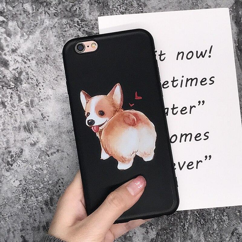 Super Cute Corgi Case For Apple iPhone 7 5 5S SE 6 6S 8 Plus X Sexy Cartoon Dog Ass Black soft silicone Phone Cover
