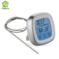 Pawaca Touch Screen LCD Digital Kitchen Food Cooking Meat BBQ Thermometer And Timer For Oven Turkey