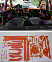 Carbon fiber Door Interior stickers Center Console decoration stickers Car Styling for Skoda 2014 2017 Rapid / Rapid Spaceback