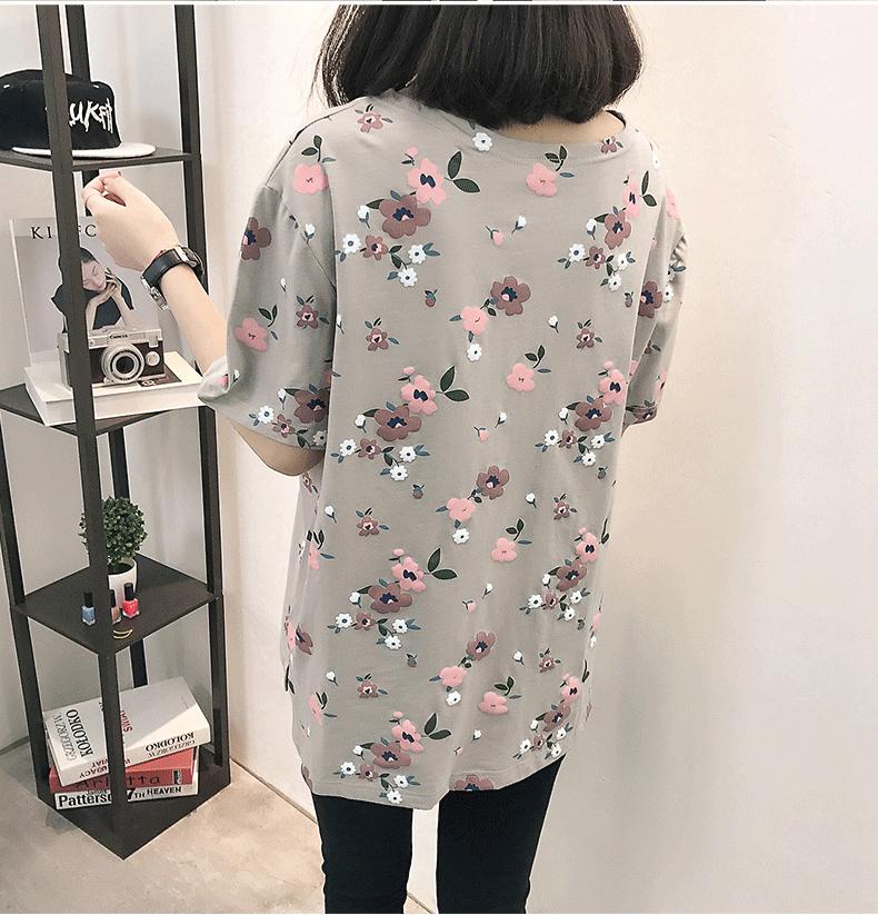 Casual Loose Women Summer T-shirt Womens O-neck Printing Cute T-shirts Female Sweet Girls Tops Females Korean Style New Trendy 11