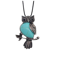 FYJS Unique Animal Jewelry  Silver Plated Wisdom Owl Shape Pendant Green Turquoises Stone Necklace