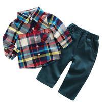 2 cái/bộ Quý Ông Giản Dị Phong Cách Sơ Sinh Trẻ Sơ Sinh Bé Trai Quần Áo Suit Kẻ Sọc Nhiều Màu Sắc Mẫu Áo Sơ Mi + Quần Áo Outfit Set
