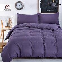 Parkshin Pure Purple Bedding Set  Duvet Cover Pillowcases Polyester Bed Linen Bedclothes Adult Home Textiles