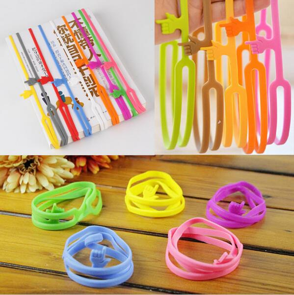 1pcs Learning Stationery Unique Creative Silicone Finger Pointing Bookmark Elasticity Book Mark Office Supply