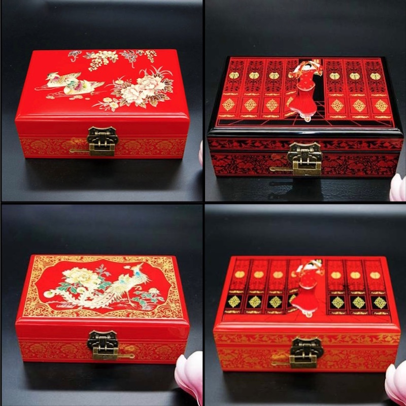 Us 58 17 Jewelry Box Antique Storage Bo Bins Chinese Lacquerware Lacquer Arts With Lock 21x14x8cm Red Wooden Rectangle Wedding Gift In