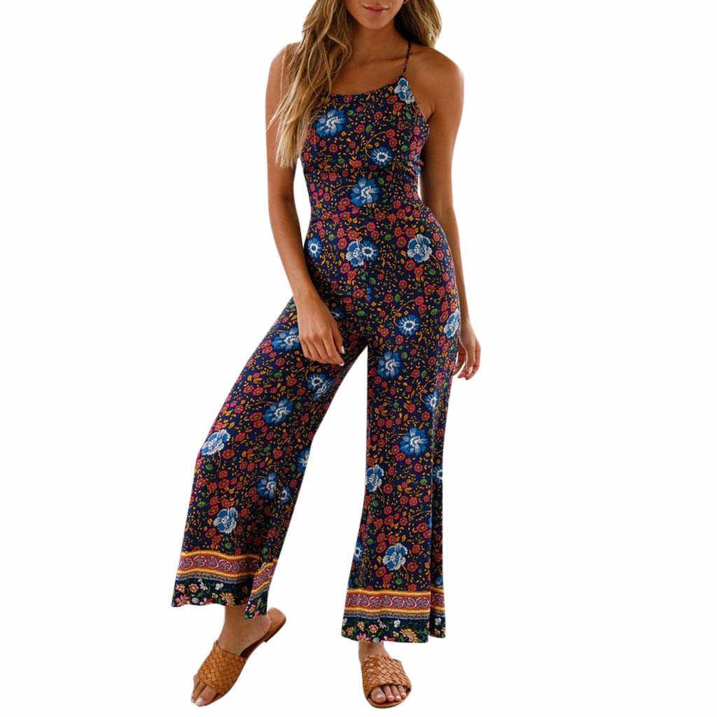 De mujer Floral vacaciones largo traje de playa sandalias de ancho de la pierna pantalones mameluco de verano Boho vestido monos