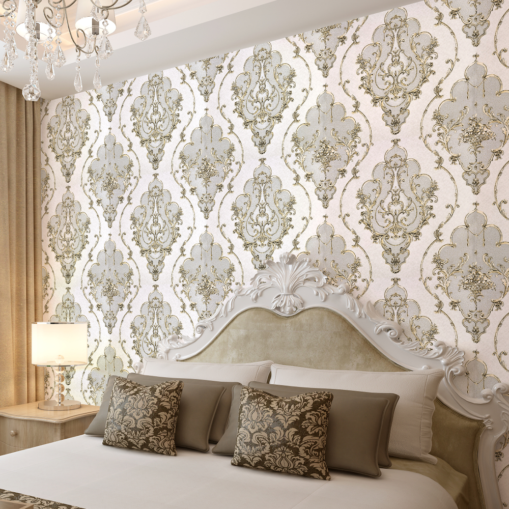 Gold Grey White Textured Luxury Damask Wallpaper 3D For Living Room Bedroom Walls Vinyl European Floral Wall Paper Rolls
