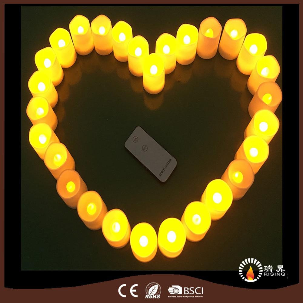 30pcs/set Safe Home decorative votive pillar tea light LED candles  flameless remote control candle