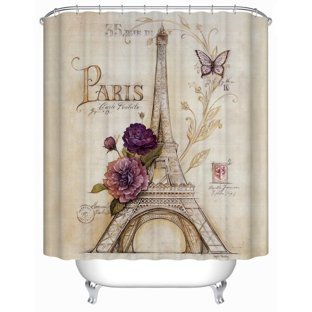 CHARMHOME Vintage Paris Themed Bluish Brown Eiffel Tower Shower Curtain Purple Flower Polyester Fabric Bath