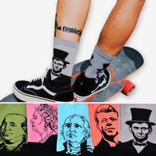 Fashion Casual Art Socks Men Women Cotton Crew Lincoin 3D Print Design Skate Brand Happy Meias