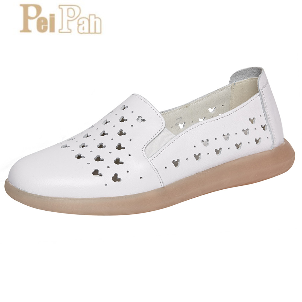 PEIPAH 2019 Summer New Casua Hollow Genuine Leather Women Flats Shoes Solid Zapatillas Mujer Soft Leather Femme Shallow Shoes PEIPAH 2019 Summer New Casua Hollow Genuine Leather Women Flats Shoes Solid Zapatillas Mujer Soft Leather Femme Shallow Shoes