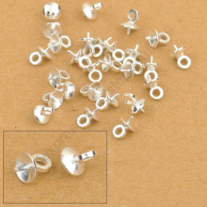 5MM Wholesale 100PCS DIY Jewelry Findings 925 Sterling Silver Bail Connectors Pendant Beads Cap For Pearl,Crystal Bead