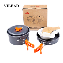 VILEAD 6pcs Camping Cookware Set Outdoor Hiking Cooking Bushcraft Portable Folding Pots Tableware Cutlery Utensils picnic set стоимость