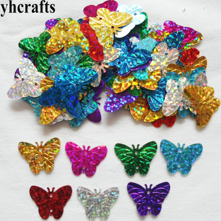 20gram/Lot 20mm Butterfly With Hole Sequin Craft Material Kindergarten Crafts Intelligence Creative Activity Item Wholesale OEM