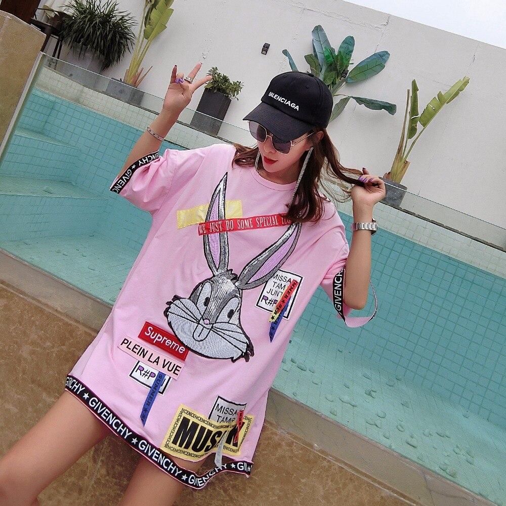 MUMUZI Summer Braid Dress Cute Cartoon Rabbit Print Dresses Women Loose Big Tee Pink and White Patches Tops High Fashion Clothes