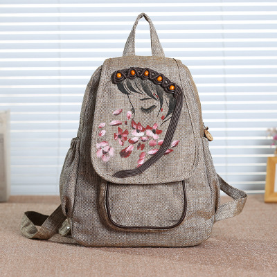 New Fashion Appliques Women Cover Backpack!Hot Casual Lady Shopping Backpacks Top CMulti-use Cotton Fabric Appliques backpack