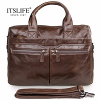 Free Shipping High Quality Fashion Vintage Genuine Leather Multifunction Men S Briefcase Laptop Handbag Messenger Bag