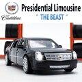 18 CM Diecast Modelo de Cadillac Limusina Presidencial, Juguetes Del Coche de Metal Para El Cabrito Con 6 Puertas Abrible/Tire Hacia Atrás la Función/Música/Luz