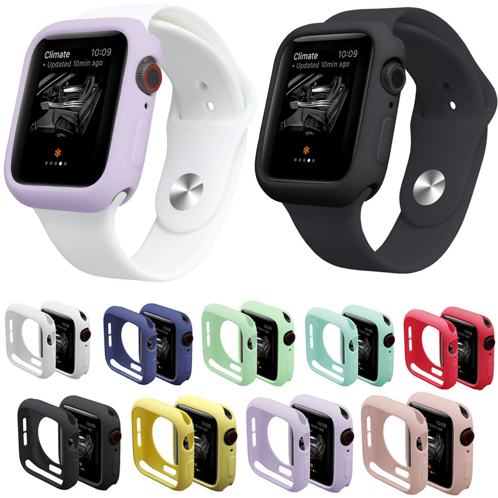 9 Colors Watch Case for iWatch Series 4 Cover Fall Resistance Soft TPU Silicone Case for Apple Watch 44mm 40mm Cover Band Strap