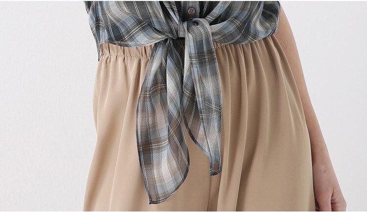 PIXY Summer Grey 100% t shirt à lacets en soie t shirt décontracté lâche Plaid dames hauts grande taille femmes vêtements de luxe à manches courtes arc - 6