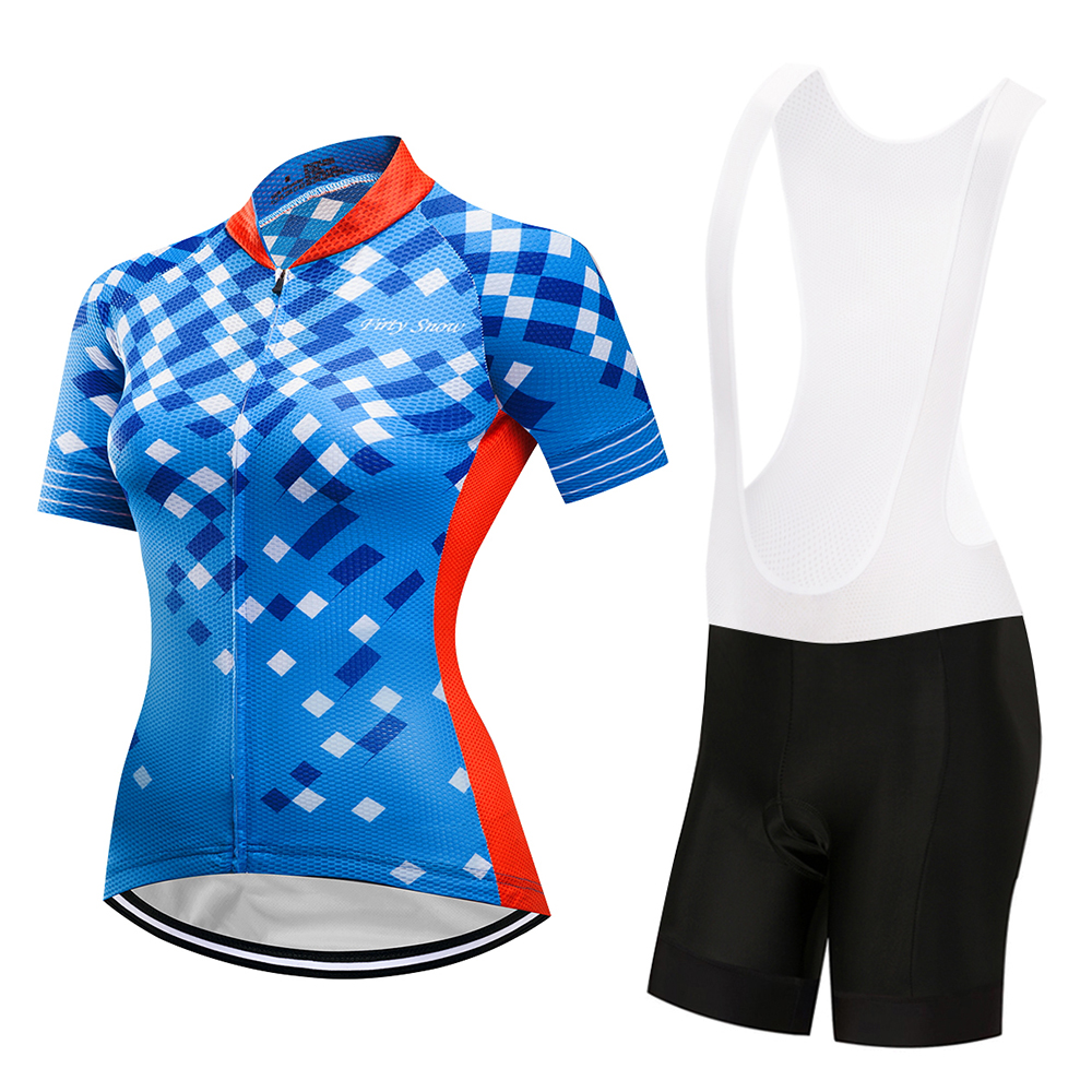 teleyi Italian non-slip belt Technology MTB Clothes Bicycle Clothing Women Short Sleeves Cycling Jersey Sets Maillot Ciclismo