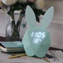 цены Creative Multifunction LED Night Light Children's Bedroom Bedside Light Alarm Clock Thermometer Cartoon Digital Display Clock