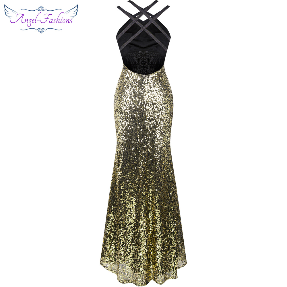 Angel fashions Halter Backless Gold Sequin Mermaid Long Prom Dress ...