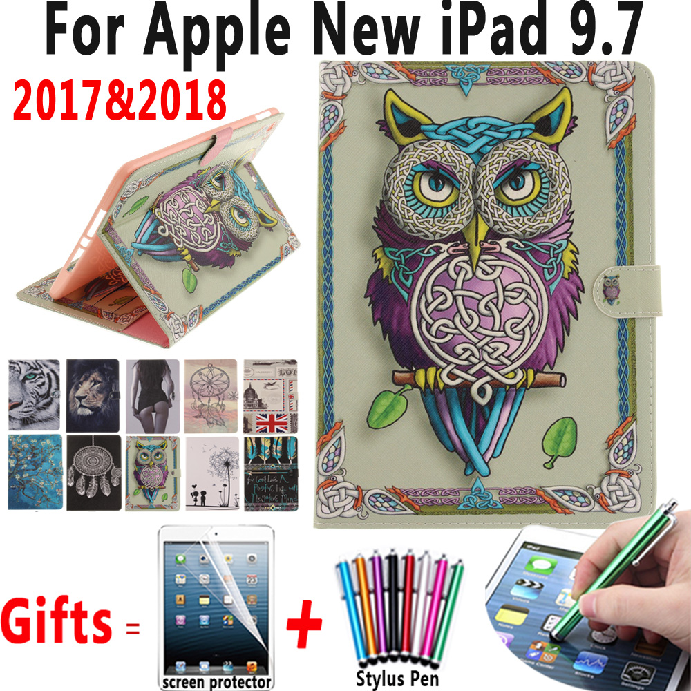 Paint Leather Case Soft Silicon Cover Stand Holder Card Slot For Apple New iPad 9.7 2017 2018 A1822 A1823 A1893 Coque Capa Funda